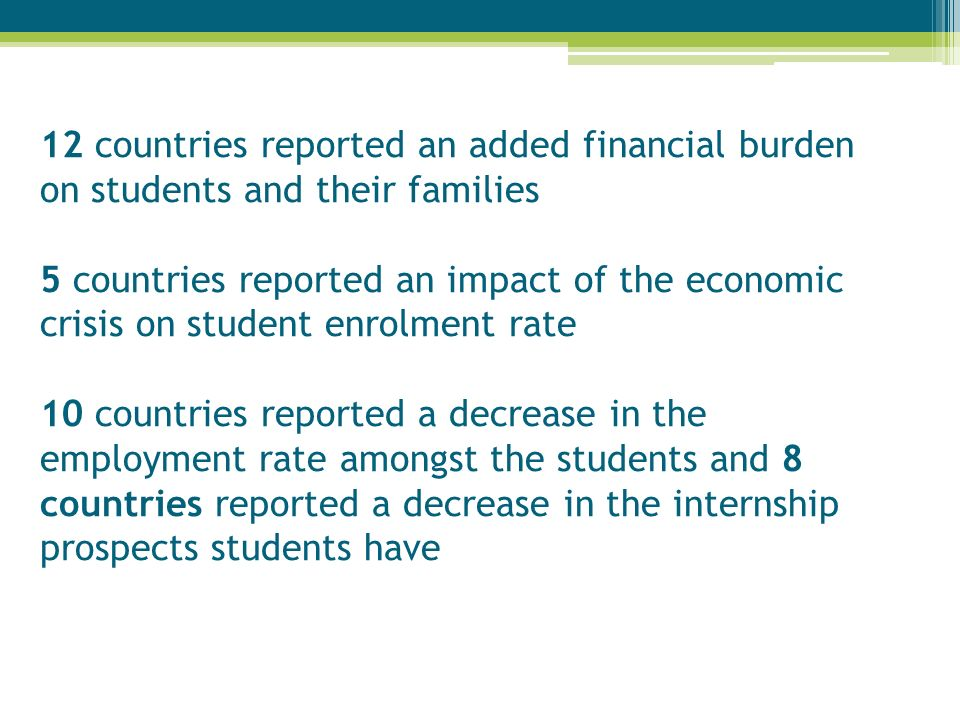 12 countries reported an added financial burden on students and their families 5 countries reported an impact of the economic crisis on student enrolm
