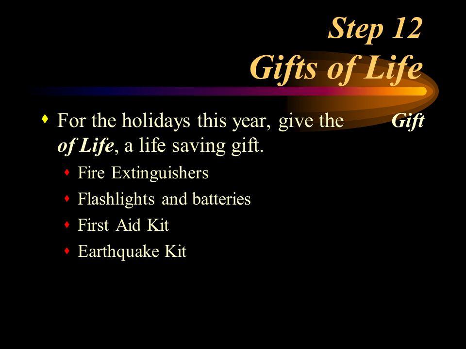 Step 11 Emergency Lighting s Flashlights and batteries s Light sticks s Emergency wall lighting units