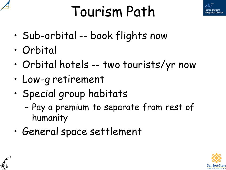 Tourism Path Sub-orbital -- book flights now Orbital Orbital hotels -- two tourists/yr now Low-g retirement Special group habitats –Pay a premium to s