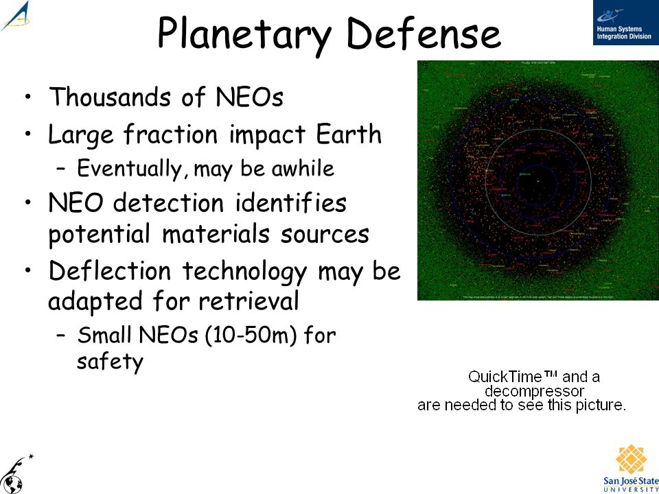 Planetary Defense Thousands of NEOs Large fraction impact Earth –Eventually, may be awhile NEO detection identifies potential materials sources Deflec