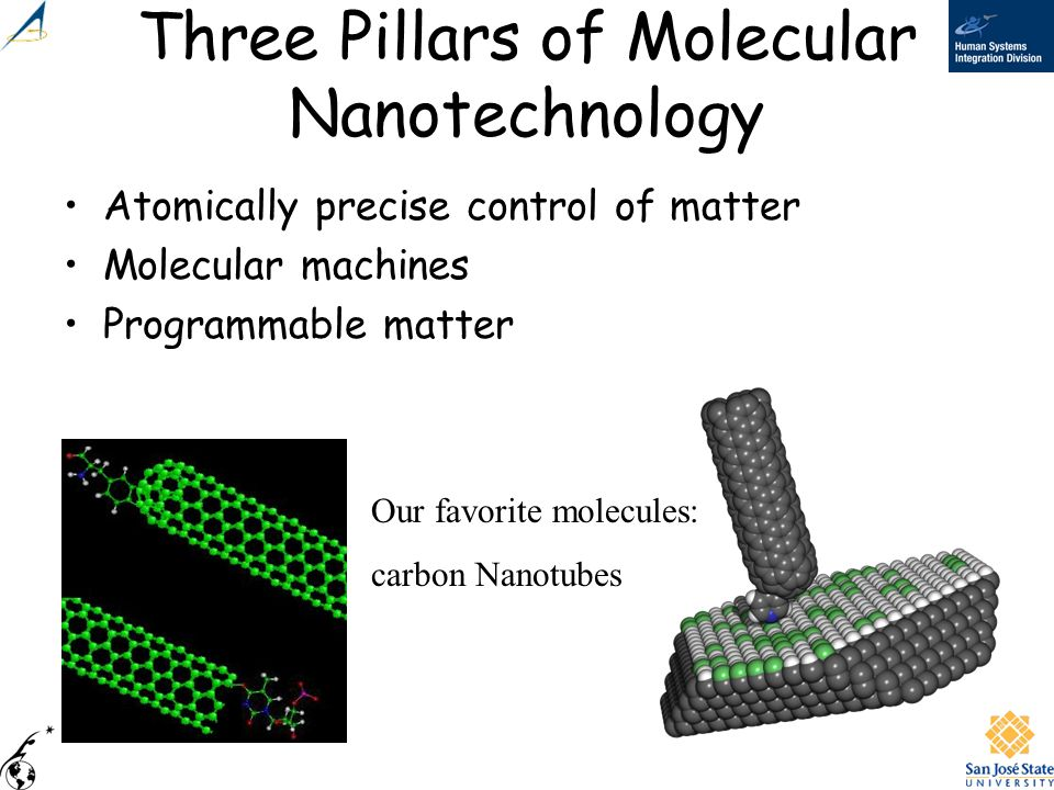 Three Pillars of Molecular Nanotechnology Atomically precise control of matter Molecular machines Programmable matter Our favorite molecules: carbon N