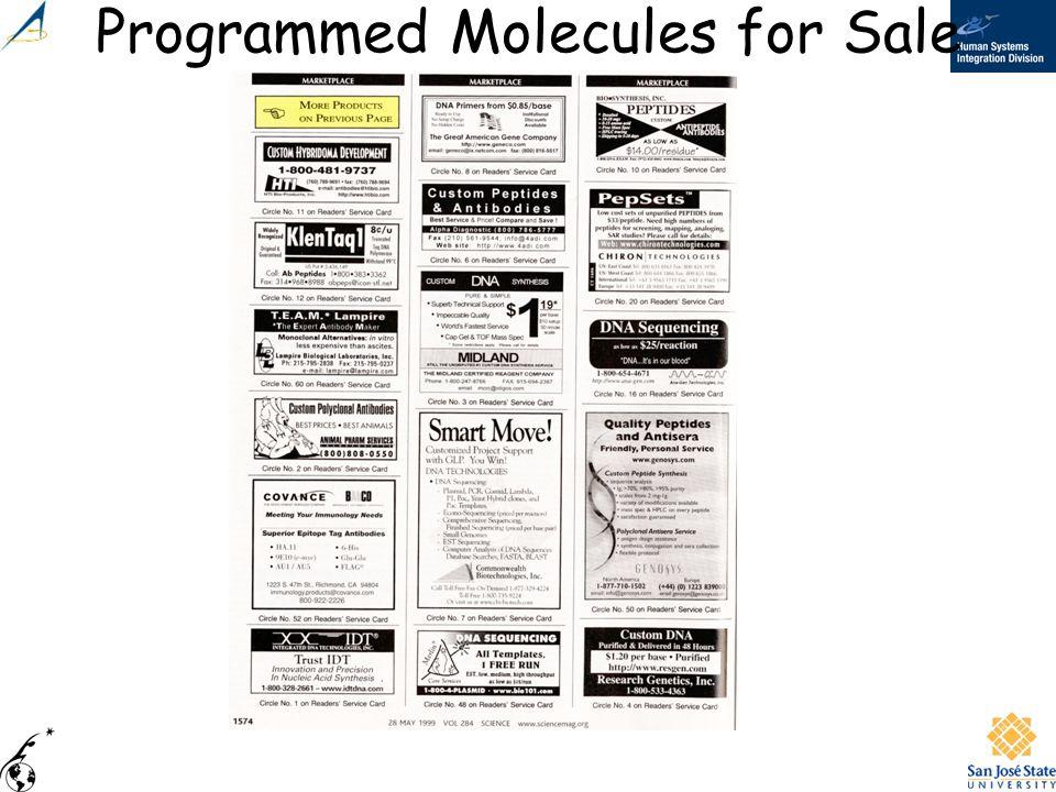 Programmed Molecules for Sale