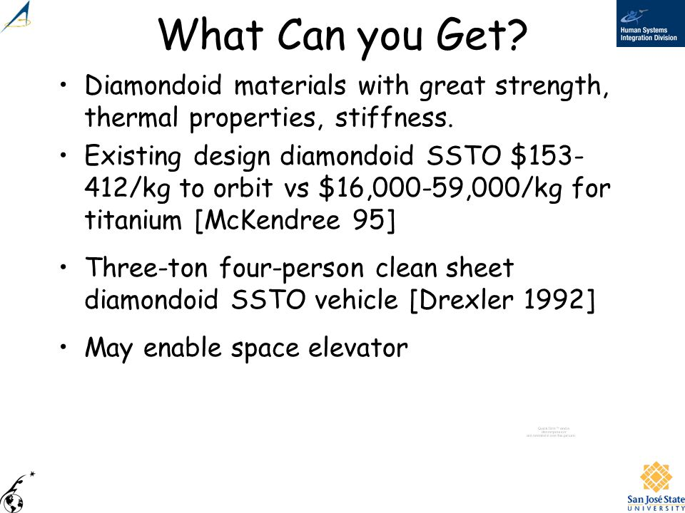 What Can you Get? Diamondoid materials with great strength, thermal properties, stiffness. Existing design diamondoid SSTO $153- 412/kg to orbit vs $1