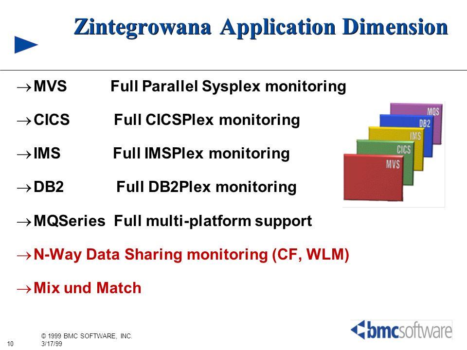 10 © 1999 BMC SOFTWARE, INC. 3/17/99 Zintegrowana Application Dimension MVS Full Parallel Sysplex monitoring CICS Full CICSPlex monitoring IMS Full IM