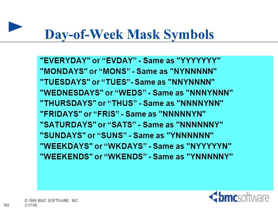 105 © 1999 BMC SOFTWARE, INC. 3/17/99 Day-of-Week Mask Symbols