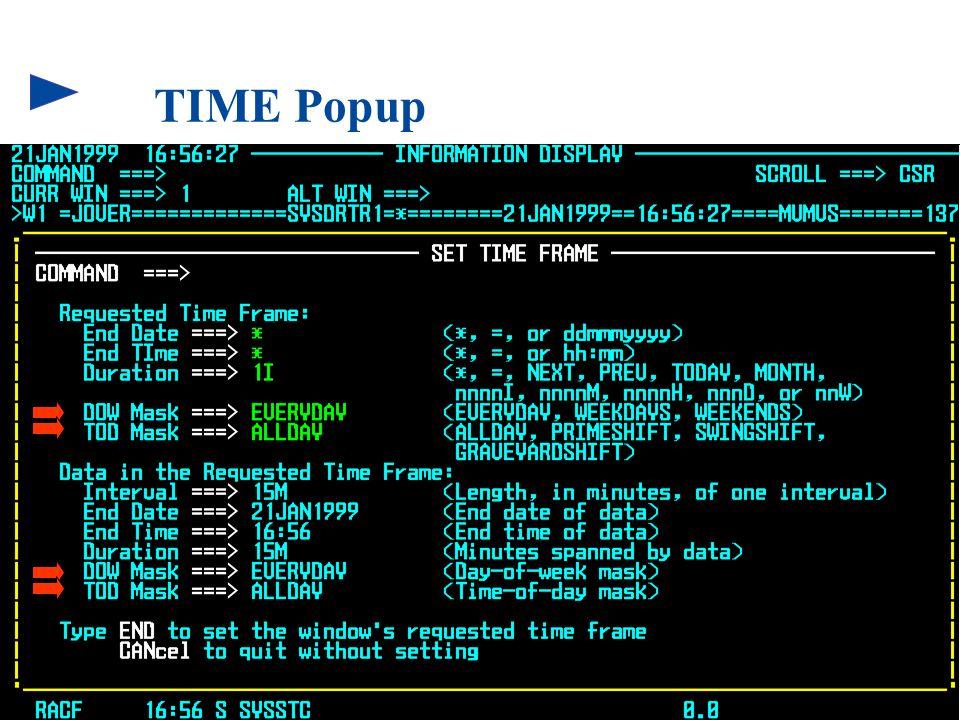 108 © 1999 BMC SOFTWARE, INC. 3/17/99 TIME Popup
