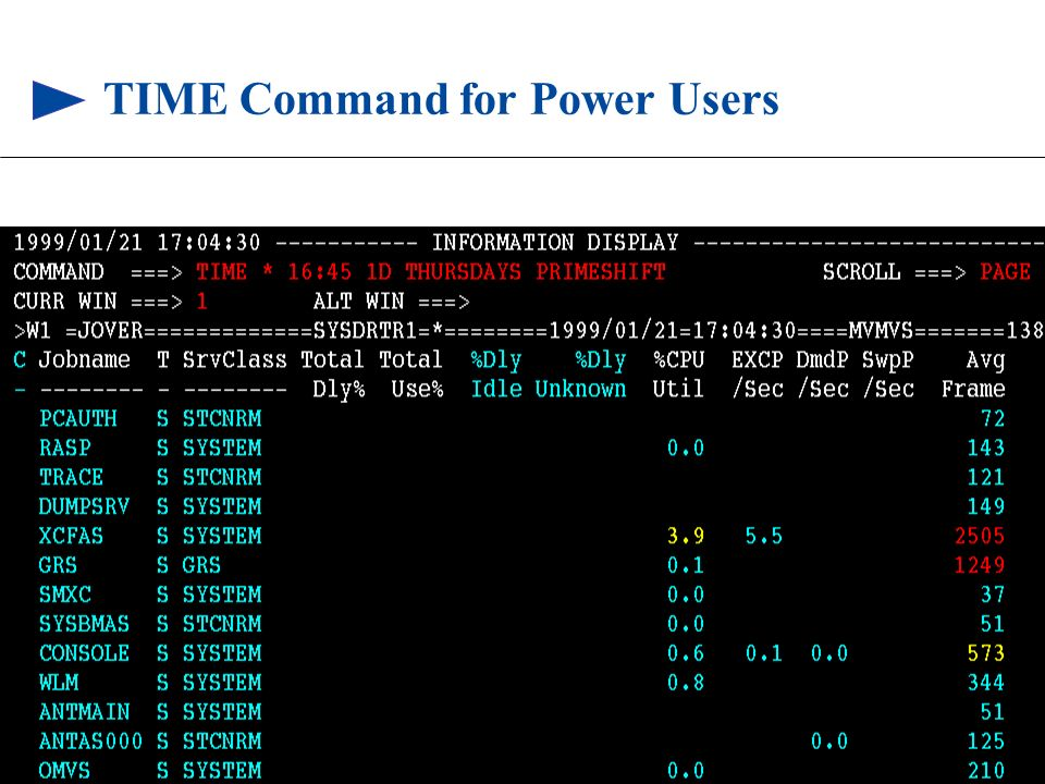 109 © 1999 BMC SOFTWARE, INC. 3/17/99 TIME Command for Power Users