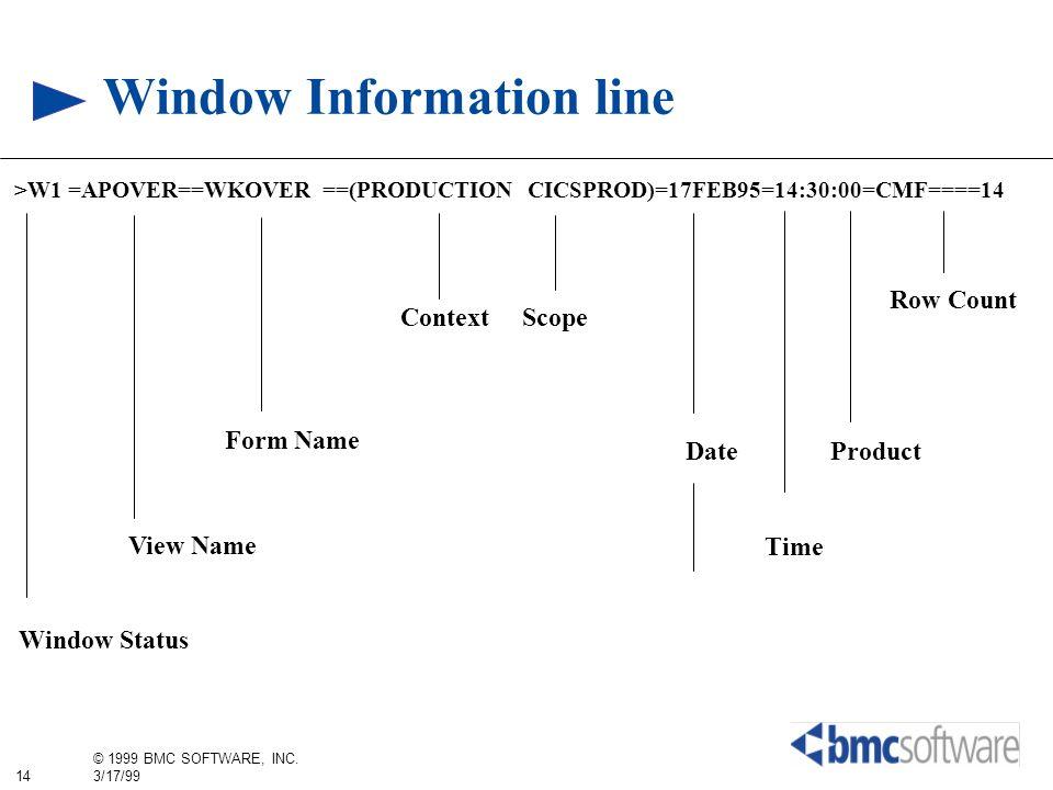 14 © 1999 BMC SOFTWARE, INC. 3/17/99 Window Information line >W1 =APOVER==WKOVER ==(PRODUCTION CICSPROD)=17FEB95=14:30:00=CMF====14 Window Status View