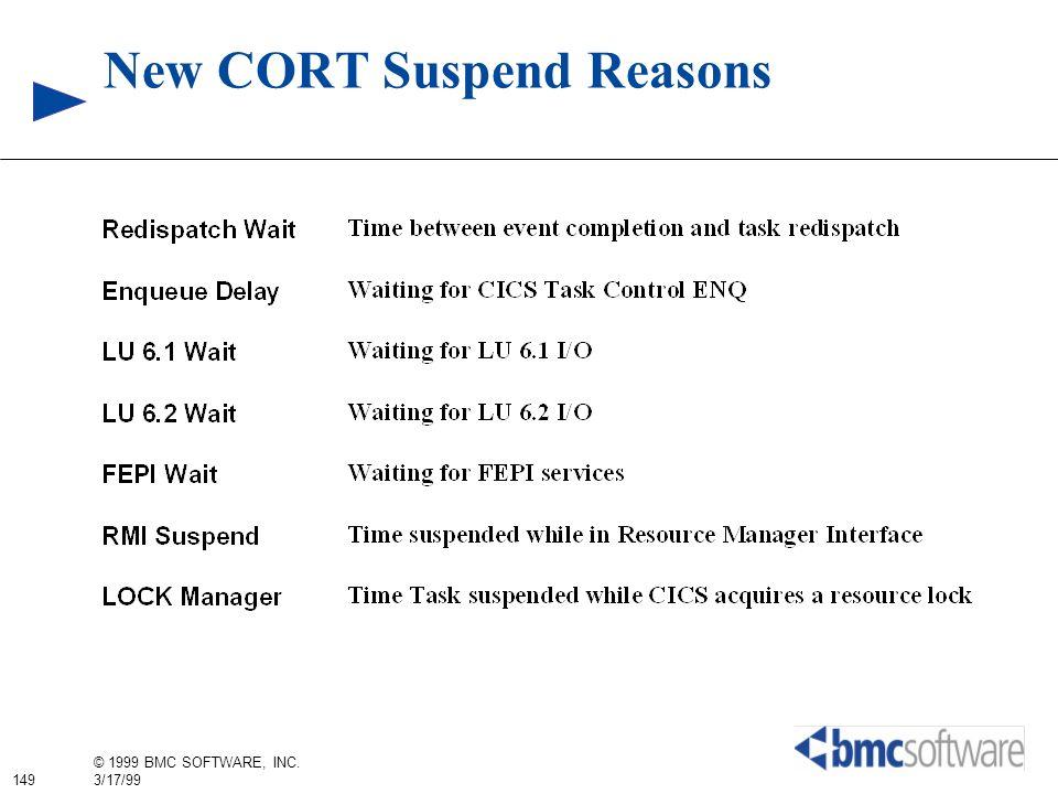 149 © 1999 BMC SOFTWARE, INC. 3/17/99 New CORT Suspend Reasons