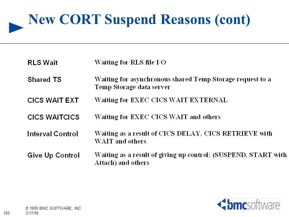 150 © 1999 BMC SOFTWARE, INC. 3/17/99 New CORT Suspend Reasons (cont)