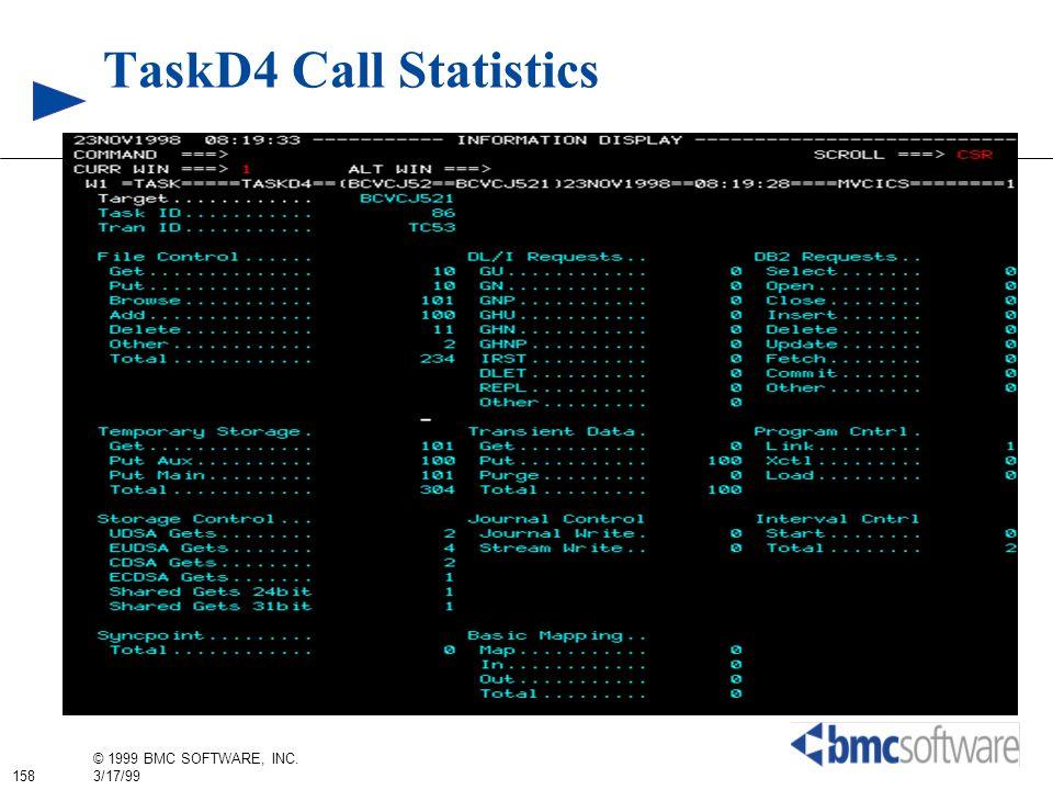 158 © 1999 BMC SOFTWARE, INC. 3/17/99 TaskD4 Call Statistics