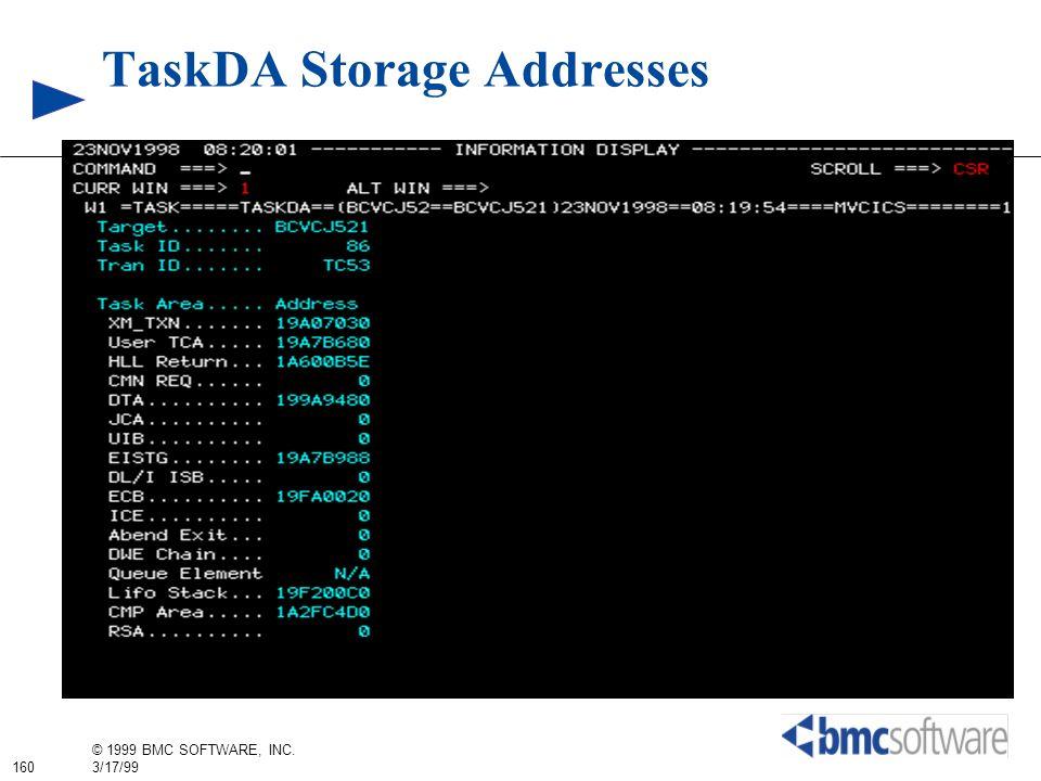 160 © 1999 BMC SOFTWARE, INC. 3/17/99 TaskDA Storage Addresses