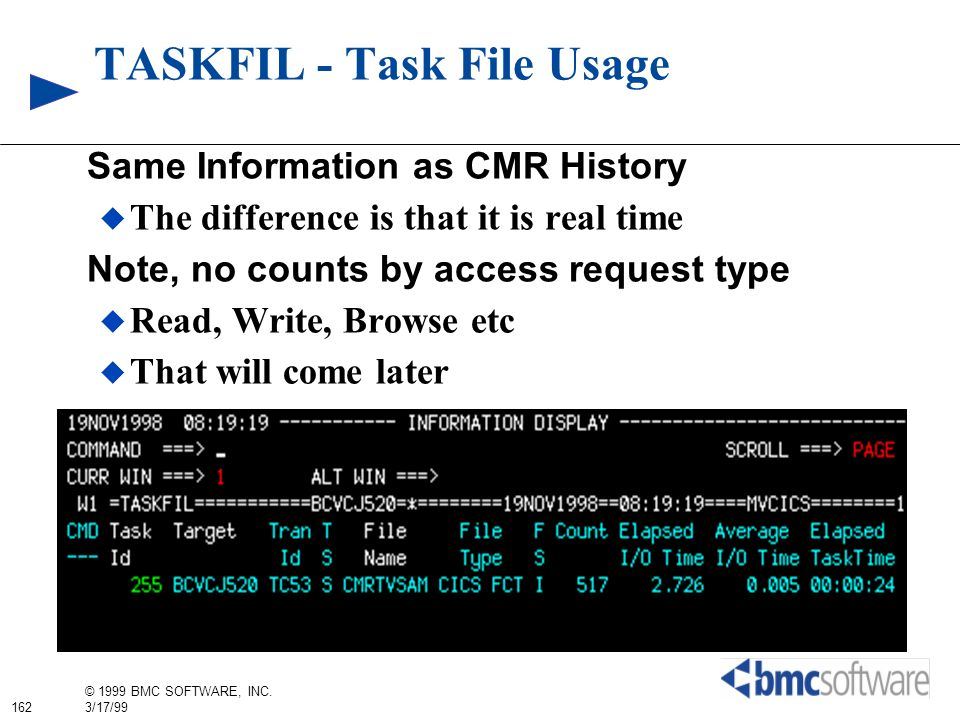 162 © 1999 BMC SOFTWARE, INC. 3/17/99 TASKFIL - Task File Usage Same Information as CMR History The difference is that it is real time Note, no counts