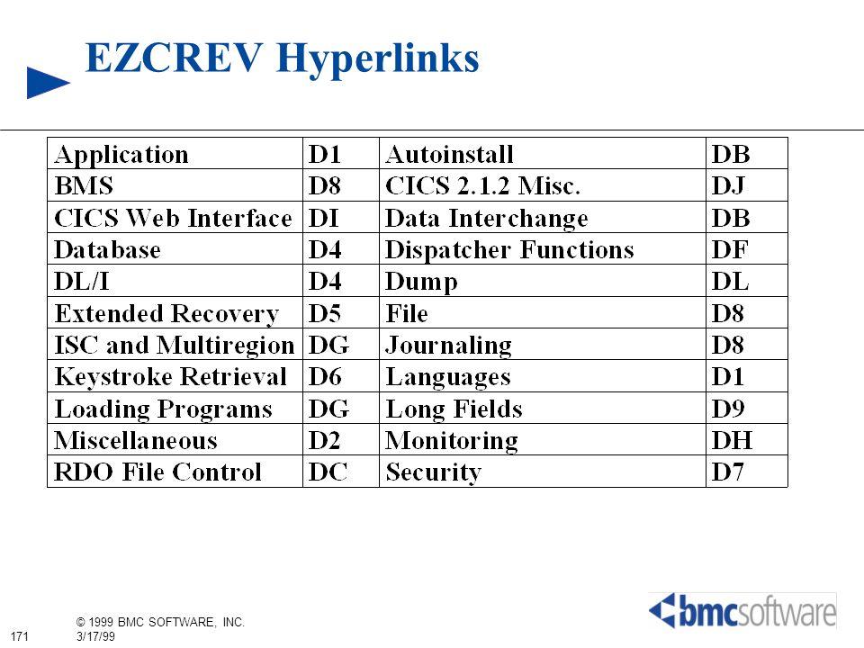 171 © 1999 BMC SOFTWARE, INC. 3/17/99 EZCREV Hyperlinks