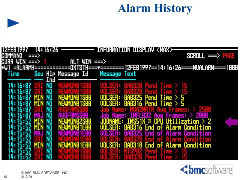 18 © 1999 BMC SOFTWARE, INC. 3/17/99 Alarm History