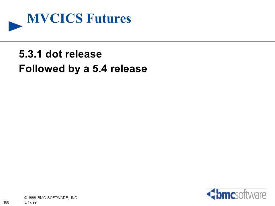 180 © 1999 BMC SOFTWARE, INC. 3/17/99 MVCICS Futures 5.3.1 dot release Followed by a 5.4 release