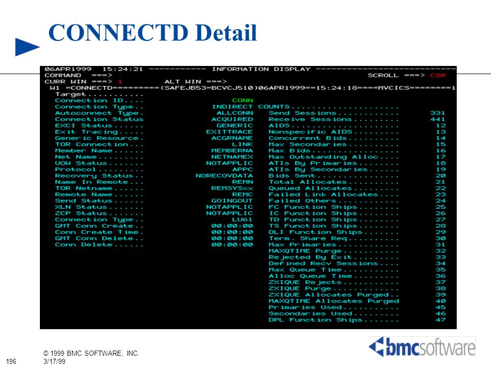 196 © 1999 BMC SOFTWARE, INC. 3/17/99 CONNECTD Detail
