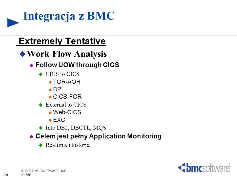 199 © 1999 BMC SOFTWARE, INC. 3/17/99 Integracja z BMC Extremely Tentative Work Flow Analysis Follow UOW through CICS CICS to CICS TOR-AOR DPL CICS-FO