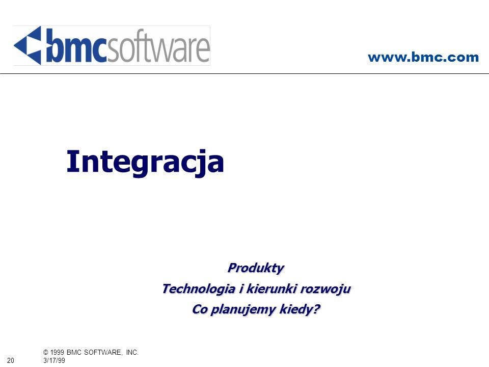 www.bmc.com 20 © 1999 BMC SOFTWARE, INC. 3/17/99 Integracja Produkty Technologia i kierunki rozwoju Co planujemy kiedy?