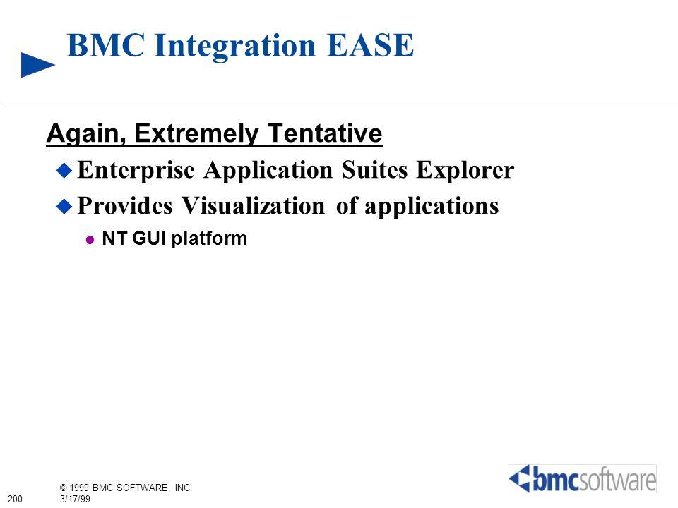200 © 1999 BMC SOFTWARE, INC. 3/17/99 BMC Integration EASE Again, Extremely Tentative Enterprise Application Suites Explorer Provides Visualization of