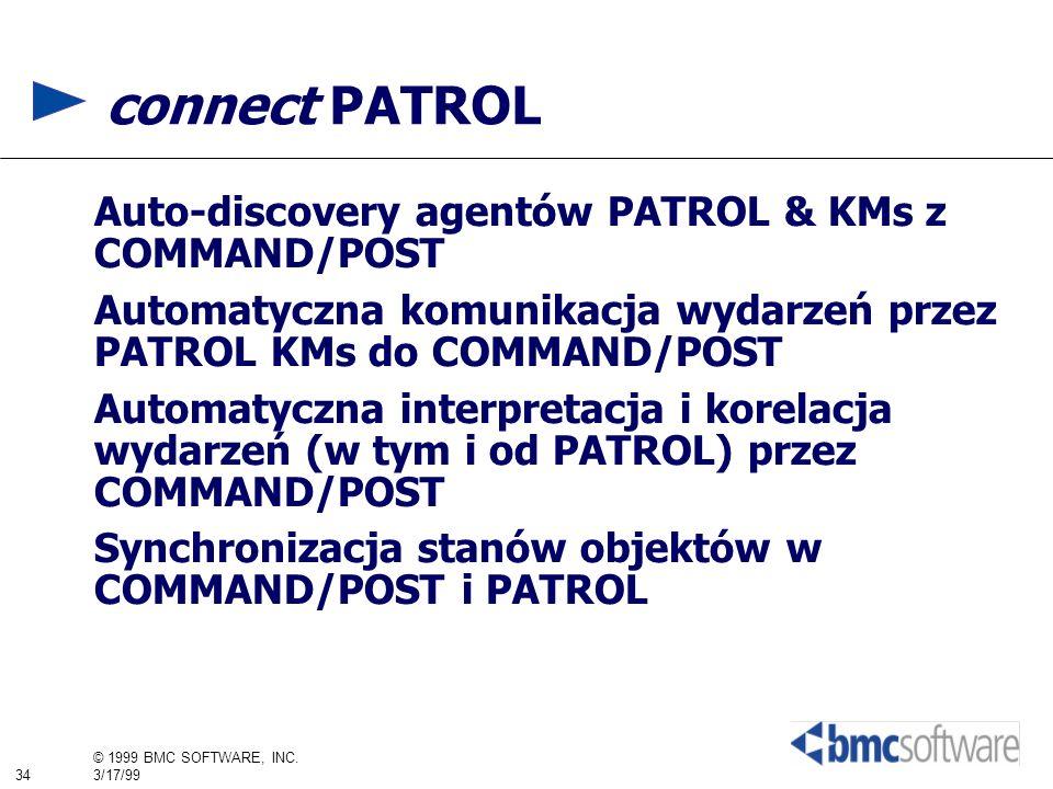 34 © 1999 BMC SOFTWARE, INC. 3/17/99 connect PATROL Auto-discovery agentów PATROL & KMs z COMMAND/POST Automatyczna komunikacja wydarzeń przez PATROL