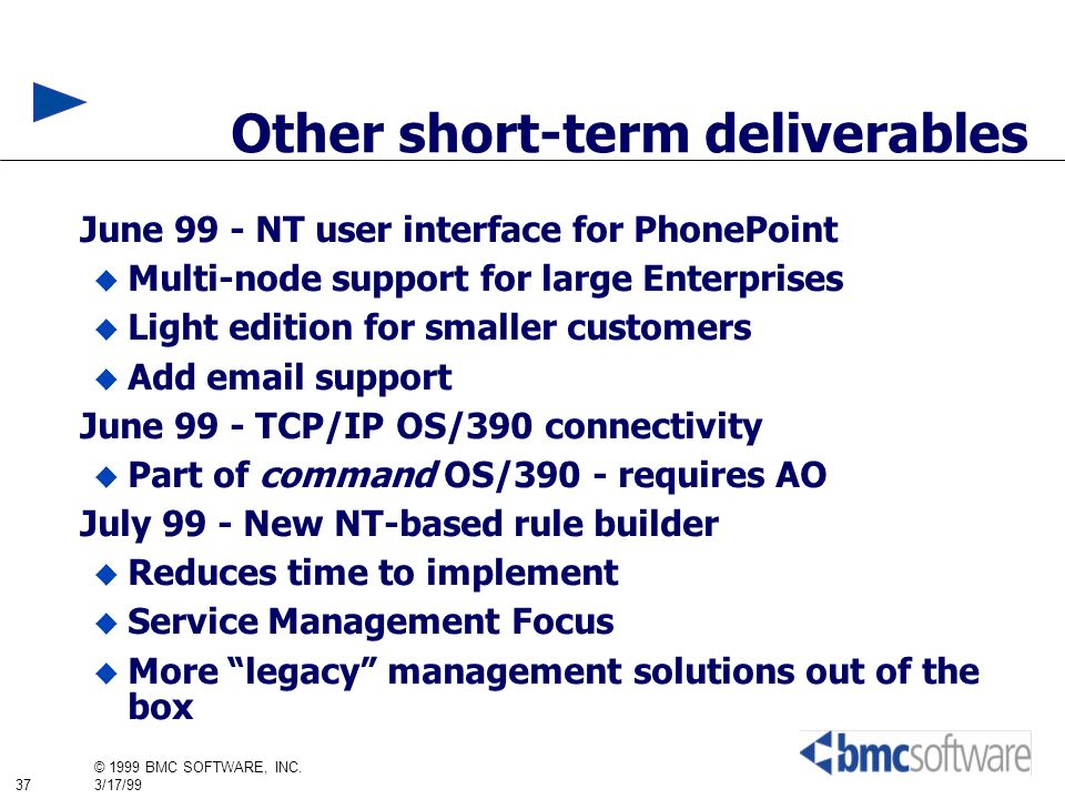37 © 1999 BMC SOFTWARE, INC. 3/17/99 Other short-term deliverables June 99 - NT user interface for PhonePoint Multi-node support for large Enterprises