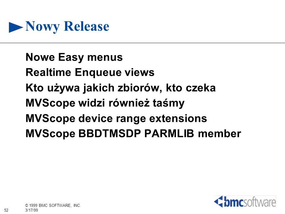 52 © 1999 BMC SOFTWARE, INC. 3/17/99 Nowy Release Nowe Easy menus Realtime Enqueue views Kto używa jakich zbiorów, kto czeka MVScope widzi również taś