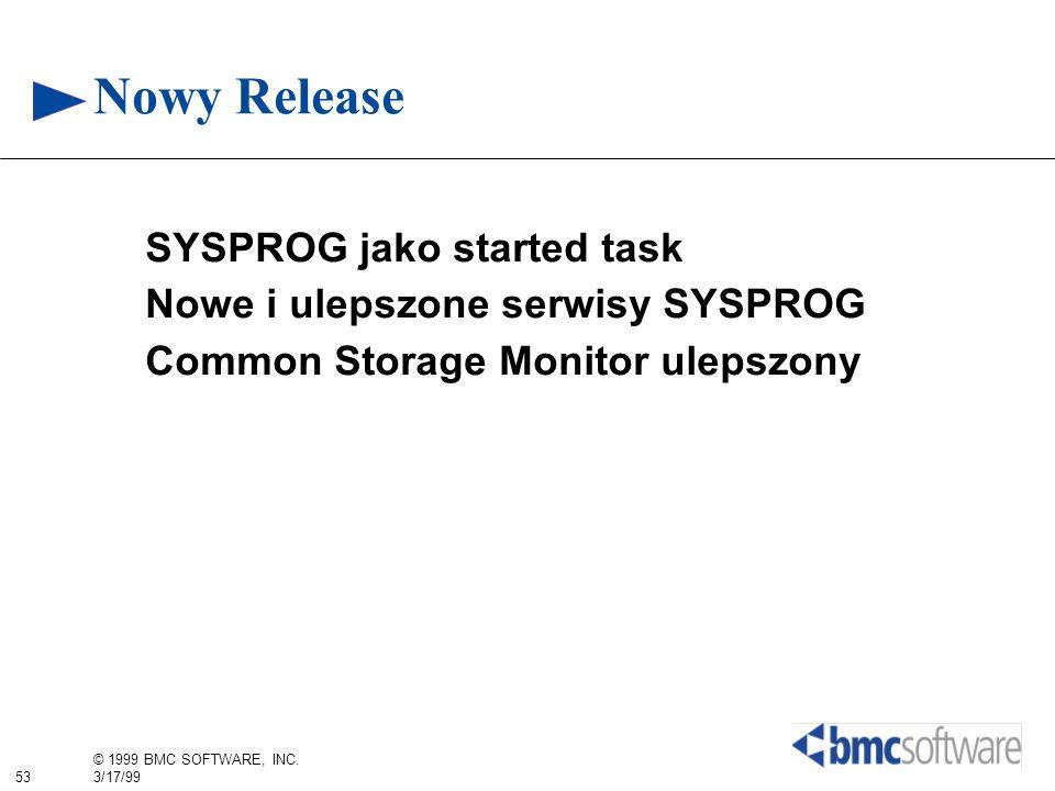 53 © 1999 BMC SOFTWARE, INC. 3/17/99 Nowy Release SYSPROG jako started task Nowe i ulepszone serwisy SYSPROG Common Storage Monitor ulepszony