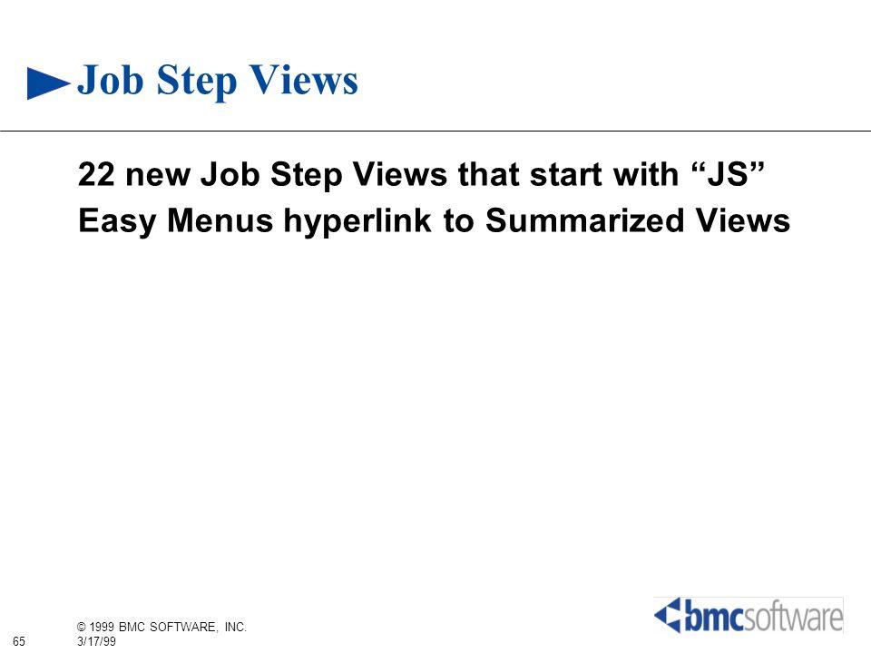 65 © 1999 BMC SOFTWARE, INC. 3/17/99 Job Step Views 22 new Job Step Views that start with JS Easy Menus hyperlink to Summarized Views