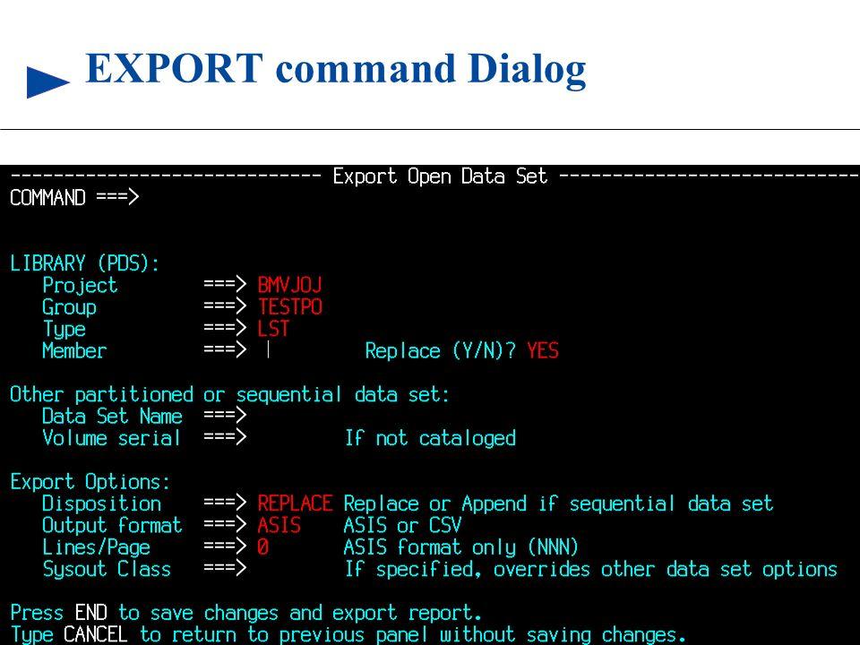 77 © 1999 BMC SOFTWARE, INC. 3/17/99 EXPORT command Dialog