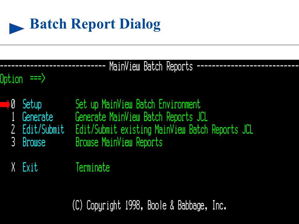 83 © 1999 BMC SOFTWARE, INC. 3/17/99 Batch Report Dialog