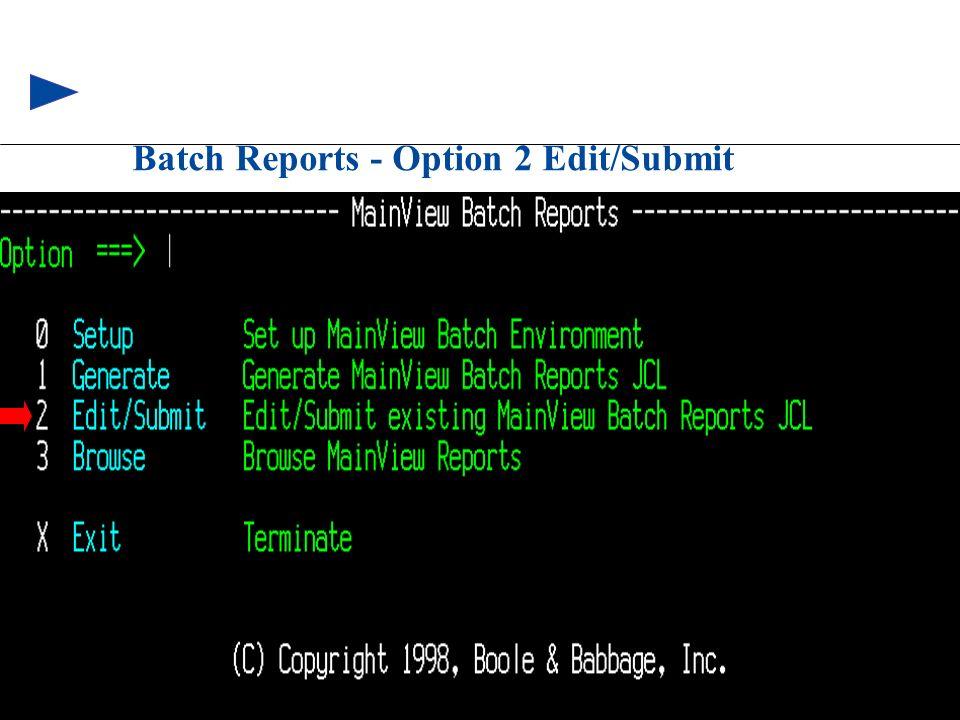 88 © 1999 BMC SOFTWARE, INC. 3/17/99 Batch Reports - Option 2 Edit/Submit