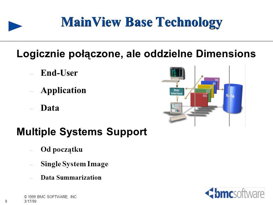 9 © 1999 BMC SOFTWARE, INC. 3/17/99 MainView Base Technology Logicznie połączone, ale oddzielne Dimensions – End-User – Application – Data Multiple Sy