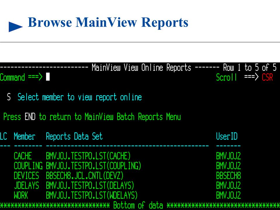 92 © 1999 BMC SOFTWARE, INC. 3/17/99 Browse MainView Reports