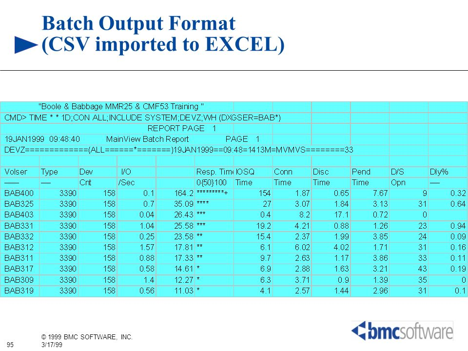 95 © 1999 BMC SOFTWARE, INC. 3/17/99 Batch Output Format (CSV imported to EXCEL)