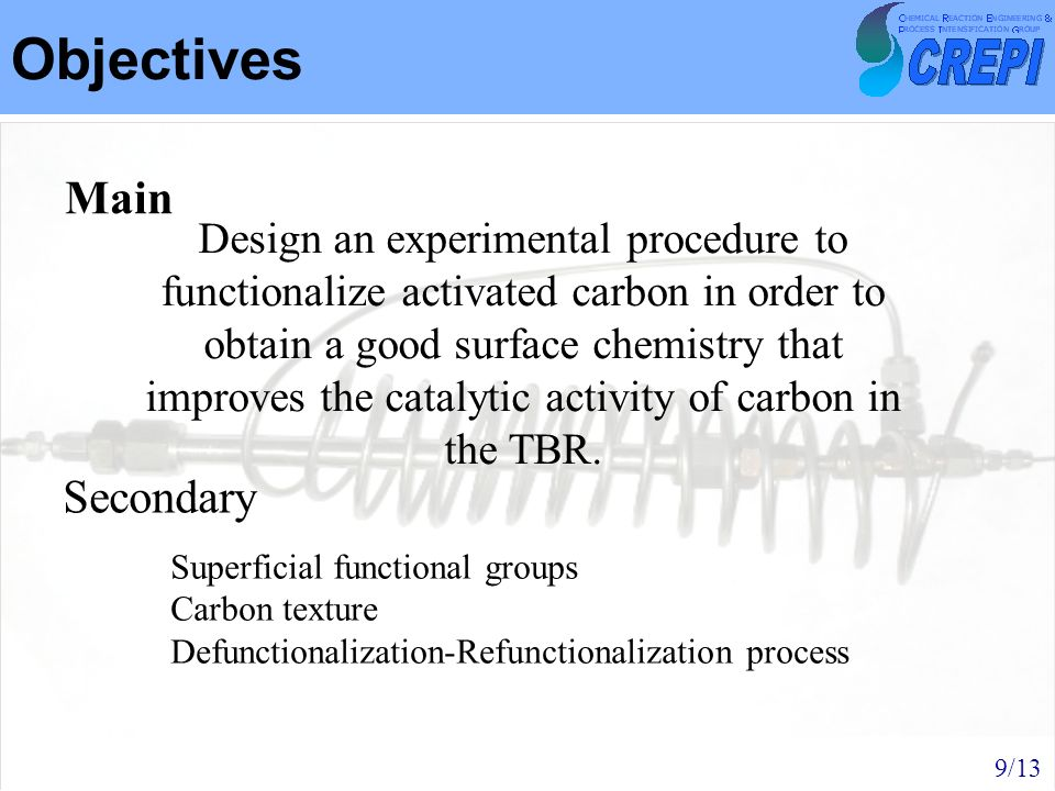 Objectives Design an experimental procedure to functionalize activated carbon in order to obtain a good surface chemistry that improves the catalytic