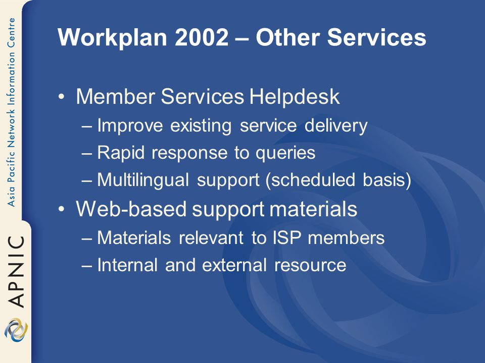 Workplan 2002 – Meetings Continuing development –SIGs, BOFs and WGs –Increase training content –Improve promotion –Coordination with others E.g.