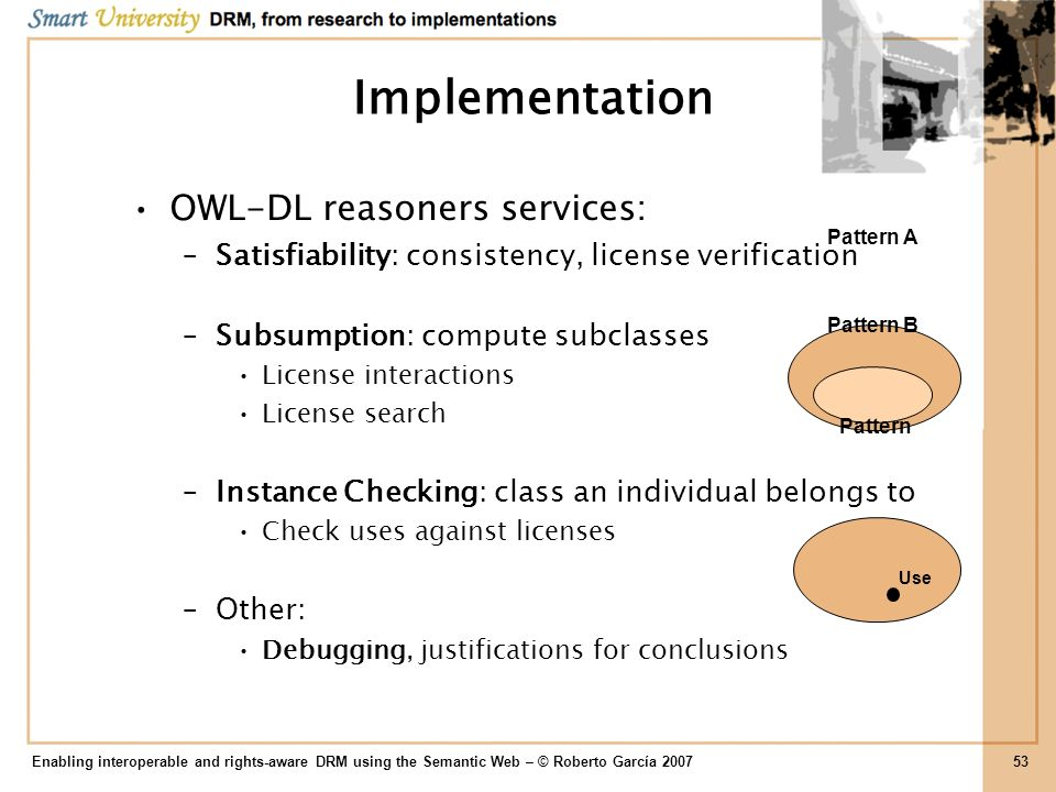 Implementation OWL-DL reasoners services: –Satisfiability: consistency, license verification –Subsumption: compute subclasses License interactions Lic