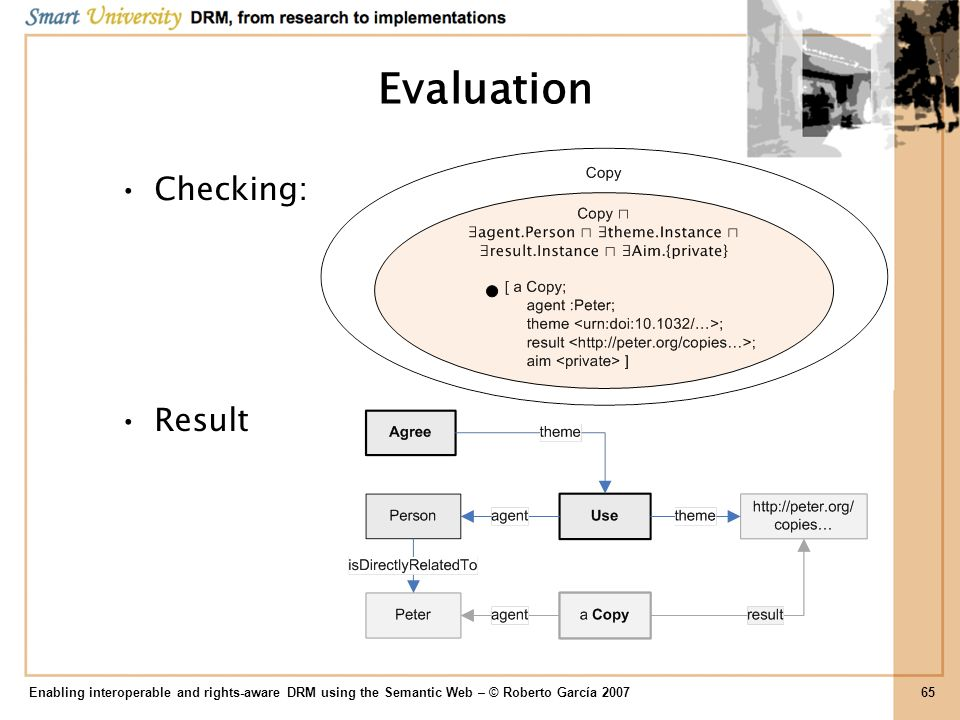 Evaluation Checking: Result Enabling interoperable and rights-aware DRM using the Semantic Web – © Roberto García 200765