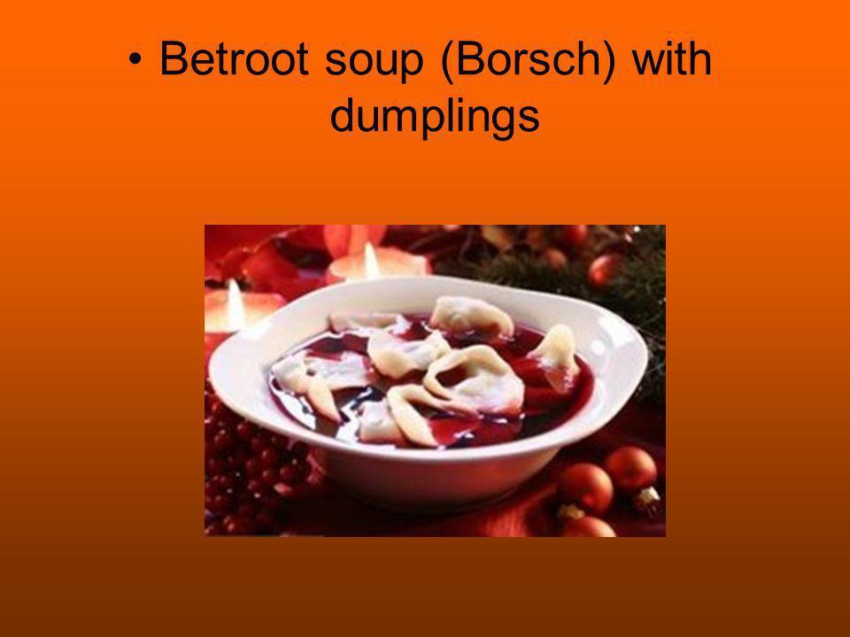 Betroot soup (Borsch) with dumplings