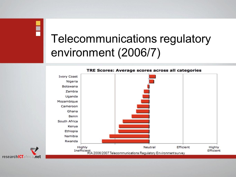 Telecommunications regulatory environment (2006/7) RIA 2006/2007 Telecommunications Regulatory Environment survey