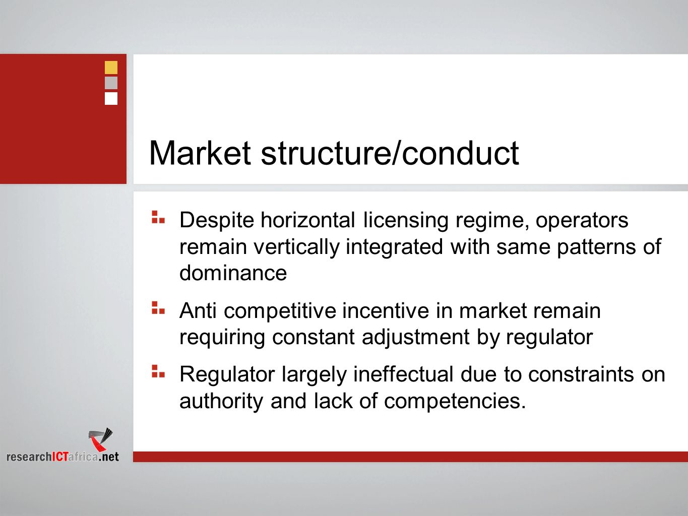 Market structure/conduct Despite horizontal licensing regime, operators remain vertically integrated with same patterns of dominance Anti competitive