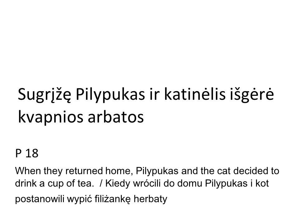 Sugrįžę Pilypukas ir katinėlis išgėrė kvapnios arbatos P 18 When they returned home, Pilypukas and the cat decided to drink a cup of tea.