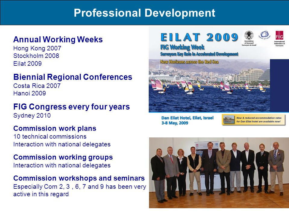 Professional Development Annual Working Weeks Hong Kong 2007 Stockholm 2008 Eilat 2009 Biennial Regional Conferences Costa Rica 2007 Hanoi 2009 FIG Co