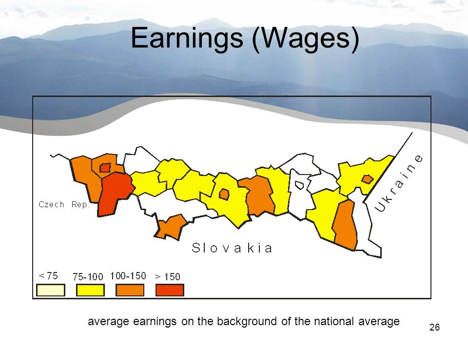26 Wstęp Earnings (Wages) average earnings on the background of the national average