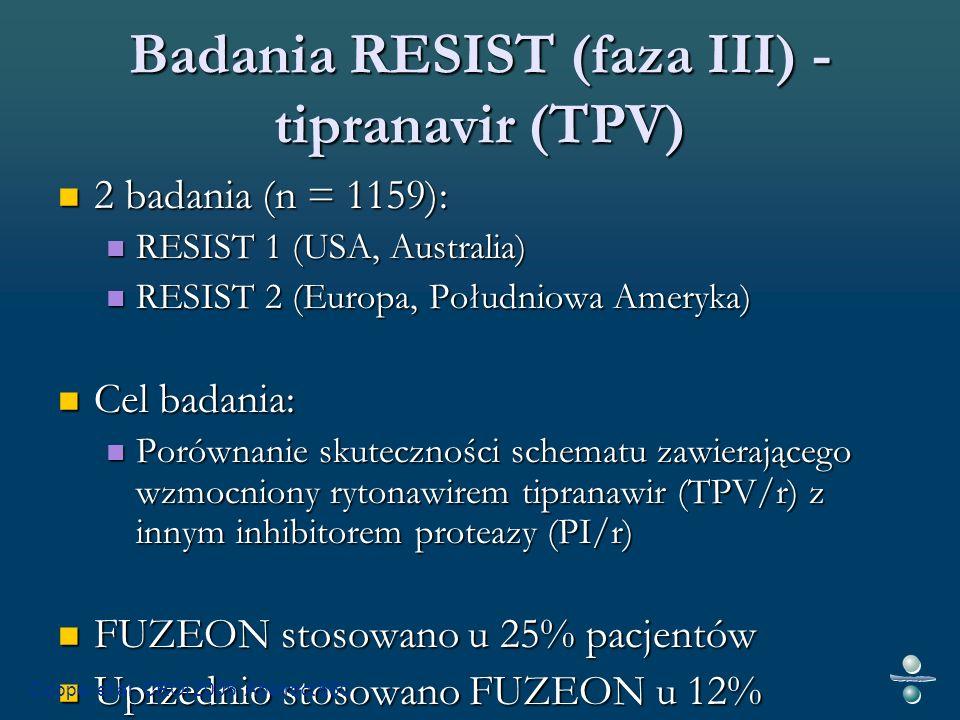 Badania RESIST (faza III) - tipranavir (TPV) 2 badania (n = 1159): 2 badania (n = 1159): RESIST 1 (USA, Australia) RESIST 1 (USA, Australia) RESIST 2 (Europa, Południowa Ameryka) RESIST 2 (Europa, Południowa Ameryka) Cel badania: Cel badania: Porównanie skuteczności schematu zawierającego wzmocniony rytonawirem tipranawir (TPV/r) z innym inhibitorem proteazy (PI/r) Porównanie skuteczności schematu zawierającego wzmocniony rytonawirem tipranawir (TPV/r) z innym inhibitorem proteazy (PI/r) FUZEON stosowano u 25% pacjentów FUZEON stosowano u 25% pacjentów Uprzednio stosowano FUZEON u 12% pacjentów Uprzednio stosowano FUZEON u 12% pacjentów Cooper et al.