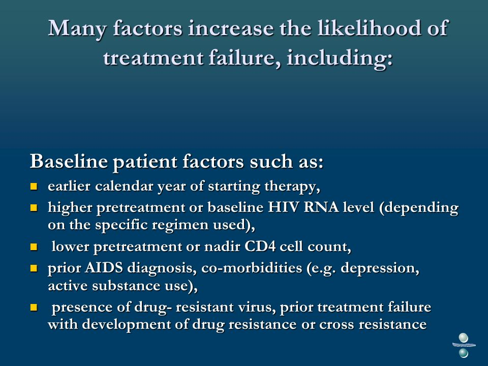 Many factors increase the likelihood of treatment failure, including(2) : incomplete medication adherence and missed clinic appointments; incomplete medication adherence and missed clinic appointments; drug side effects and toxicity; drug side effects and toxicity; suboptimal pharmacokinetics (variable absorption, metabolism, and/or penetration into reservoirs, food/fasting requirements, adverse drug-drug interactions with concomitant medications); suboptimal pharmacokinetics (variable absorption, metabolism, and/or penetration into reservoirs, food/fasting requirements, adverse drug-drug interactions with concomitant medications); suboptimal potency of the antiretroviral regimen; and/or suboptimal potency of the antiretroviral regimen; and/or other, unknown reasons.