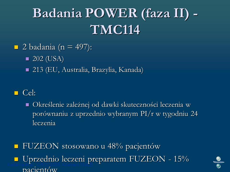 Badania POWER (faza II) - TMC114 2 badania (n = 497): 2 badania (n = 497): 202 (USA) 202 (USA) 213 (EU, Australia, Brazylia, Kanada) 213 (EU, Australia, Brazylia, Kanada) Cel: Cel: Określenie zależnej od dawki skuteczności leczenia w porównaniu z uprzednio wybranym PI/r w tygodniu 24 leczenia Określenie zależnej od dawki skuteczności leczenia w porównaniu z uprzednio wybranym PI/r w tygodniu 24 leczenia FUZEON stosowano u 48% pacjentów FUZEON stosowano u 48% pacjentów Uprzednio leczeni preparatem FUZEON - 15% pacjentów Uprzednio leczeni preparatem FUZEON - 15% pacjentów Katlama et al.