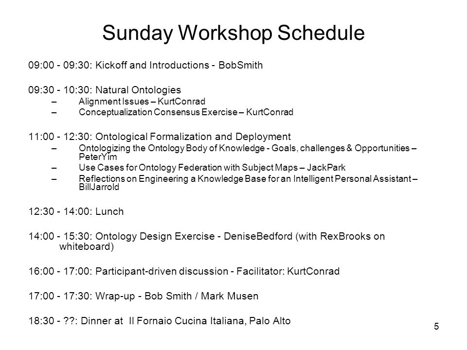 5 Sunday Workshop Schedule 09:00 - 09:30: Kickoff and Introductions - BobSmith 09:30 - 10:30: Natural Ontologies –Alignment Issues – KurtConrad –Conceptualization Consensus Exercise – KurtConrad 11:00 - 12:30: Ontological Formalization and Deployment –Ontologizing the Ontology Body of Knowledge - Goals, challenges & Opportunities – PeterYim –Use Cases for Ontology Federation with Subject Maps – JackPark –Reflections on Engineering a Knowledge Base for an Intelligent Personal Assistant – BillJarrold 12:30 - 14:00: Lunch 14:00 - 15:30: Ontology Design Exercise - DeniseBedford (with RexBrooks on whiteboard) 16:00 - 17:00: Participant-driven discussion - Facilitator: KurtConrad 17:00 - 17:30: Wrap-up - Bob Smith / Mark Musen 18:30 - ??: Dinner at Il Fornaio Cucina Italiana, Palo Alto