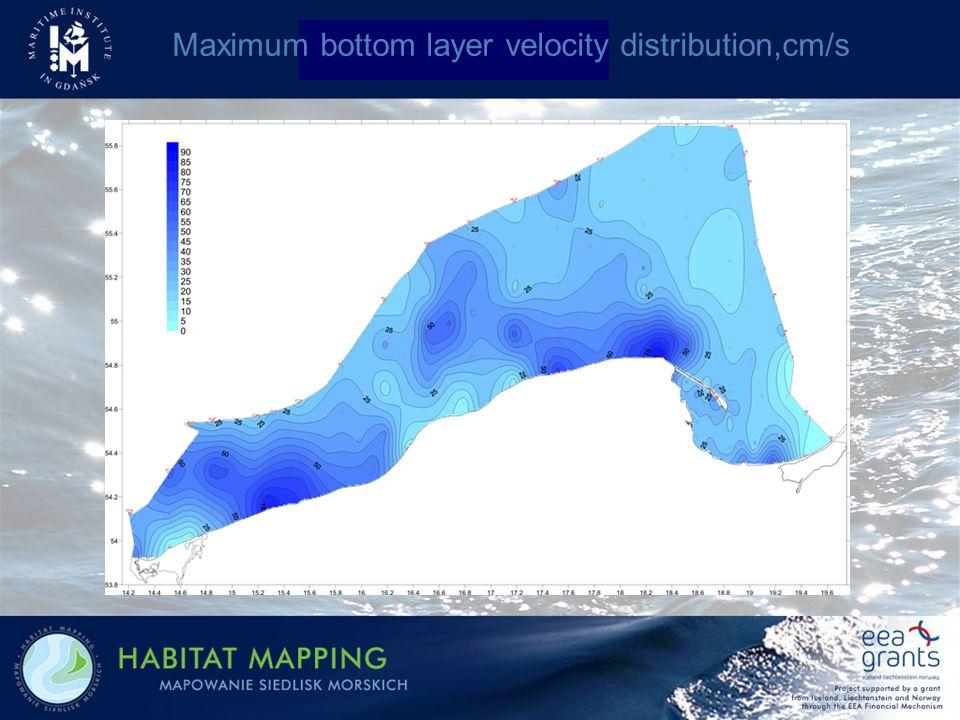 Maximum bottom layer velocity distribution,cm/s
